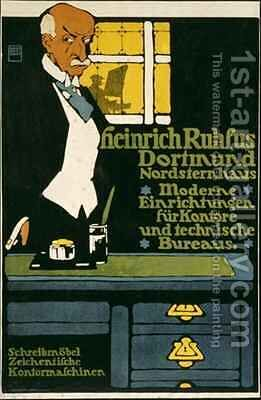 German advertisement for an office furniture handler in Dortmund by Hans Rudi Erdt - Reproduction Oil Painting
