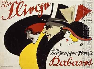 German advertisement for the cabaret Die Fliege in Berlin by Hans Rudi Erdt - Reproduction Oil Painting