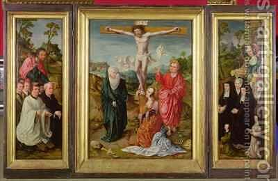 Triptych of The Crucifixion St Barbara with Donors St James the Greater with Donors The Crucifixion by Cornelis Engelbrechtsen - Reproduction Oil Painting