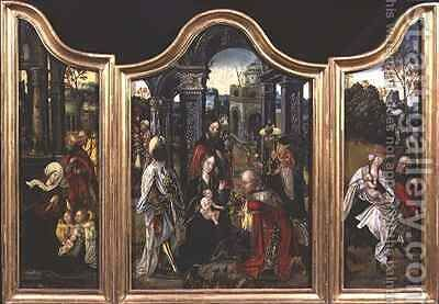 Triptych Adoration of the Magi Nativity and Rest on the Flight into Egypt by Cornelis Engelbrechtsen - Reproduction Oil Painting
