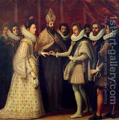The Marriage of Catherine de Medici and Henri II by (Jacopo Chimenti) Empoli - Reproduction Oil Painting