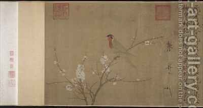 Five coloured Parakeet on a Blossoming Apricot Tree by Huizong Emperor - Reproduction Oil Painting