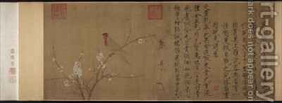 Five coloured Parakeet on a Blossoming Apricot Tree 2 by Huizong Emperor - Reproduction Oil Painting