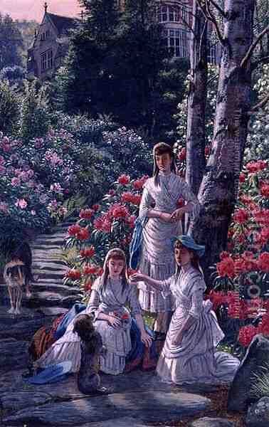 The Princesses Louise Victoria and Maude Visiting Cragside in 1884 by Henry Hetherington Emmerson - Reproduction Oil Painting
