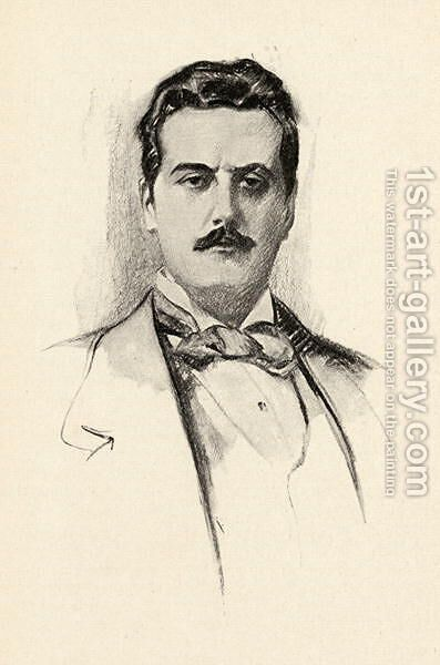 Giacomo Puccini 1858-1924 illustration from The Lure of Music by Olin Downes by Chase Emerson - Reproduction Oil Painting