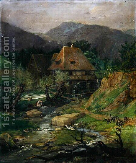 Mill near Doernberg by Caroline von der Embde - Reproduction Oil Painting