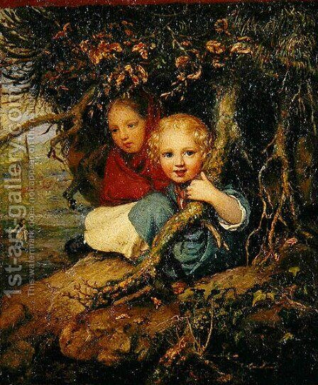 Two Children under Tree Roots by August von der Embde - Reproduction Oil Painting
