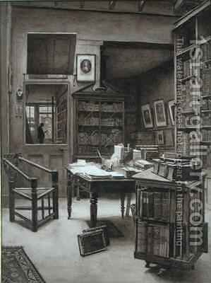 The Interior of a Bookshop by Arthur Ellis - Reproduction Oil Painting