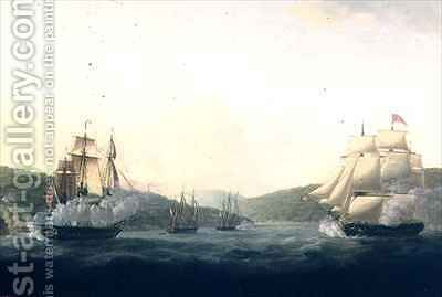 Attack on the French frigate Aimable and the French sloop Ceres by two British frigates under Lord Hood in the Mona Passage between Puerto Rico and Santo Domingo by Captain William Elliot - Reproduction Oil Painting