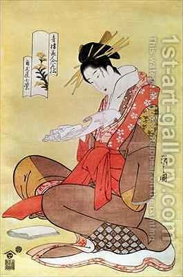 Seated Woman Reading by Hosoda Eishi - Reproduction Oil Painting