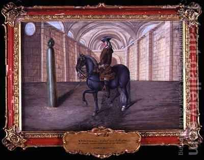 No 24 A dark grey horse of the Spanish Riding School performing dressage steps in an indoor arena by Baron Reis d' Eisenberg - Reproduction Oil Painting