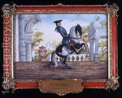 No 41 A skewbald horse of the Spanish Riding School performing the Pesade by Baron Reis d' Eisenberg - Reproduction Oil Painting