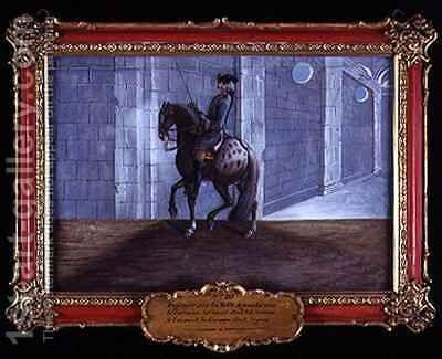 No 20 A dapple grey horse of the Spanish Riding School performing the Volte dressage step by Baron Reis d' Eisenberg - Reproduction Oil Painting