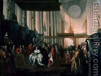 Coronation of Karl XI 1655-97 by David Klocker Ehrenstrahl - Reproduction Oil Painting
