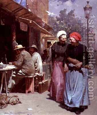 Parisian Market by Benjamin Osro Eggleston - Reproduction Oil Painting