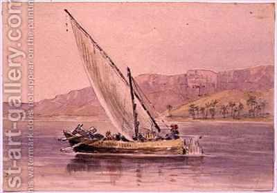 Market boat at Minya Egypt by Arthur Sherwood Edwards - Reproduction Oil Painting
