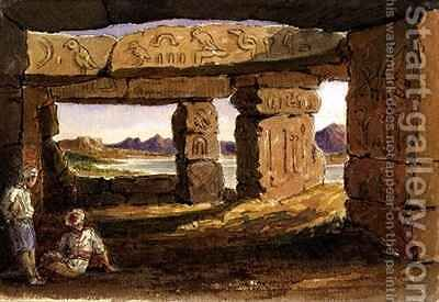 Temple of Amada Nubia by Arthur Sherwood Edwards - Reproduction Oil Painting