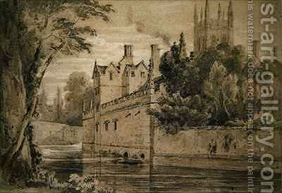 Magdalen College  A View on the Cherwell looking towards the Bridge by Henry Edridge - Reproduction Oil Painting