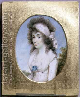 Portrait Miniature of Lydia or Elizabeth Hunt by Henry Edridge - Reproduction Oil Painting