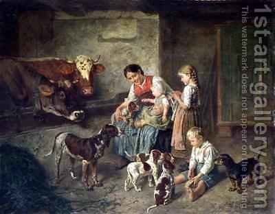 Contentment by Adolf Eberle - Reproduction Oil Painting