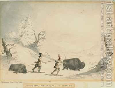 Hunting the Buffalo in Winter by (after) Eastman, Captain Seth - Reproduction Oil Painting