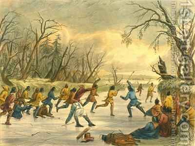 Ball play on the ice by (after) Eastman, Captain Seth - Reproduction Oil Painting