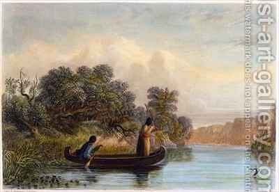 Spearing Fish from a Canoe by (after) Eastman, Captain Seth - Reproduction Oil Painting