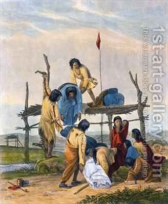 Indian Burial by (after) Eastman, Captain Seth - Reproduction Oil Painting