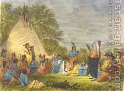 Indians in Council by (after) Eastman, Captain Seth - Reproduction Oil Painting