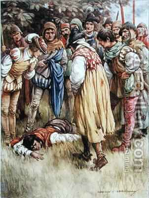 A Crowd of Gipsies Gathered Around by Harold C. Earnshaw - Reproduction Oil Painting