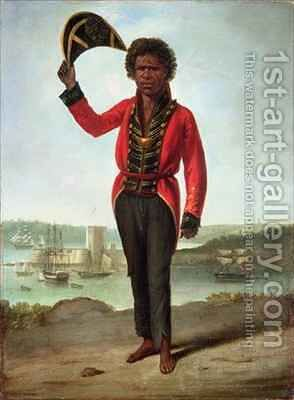 Portrait of Bungaree a native of New South Wales with Fort Macquarie Sydney Harbour in the background by Augustus Earle - Reproduction Oil Painting
