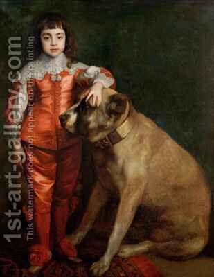 Full length portrait of Charles II as a boy with a mastiff by (after) Dyck, Sir Anthony van - Reproduction Oil Painting