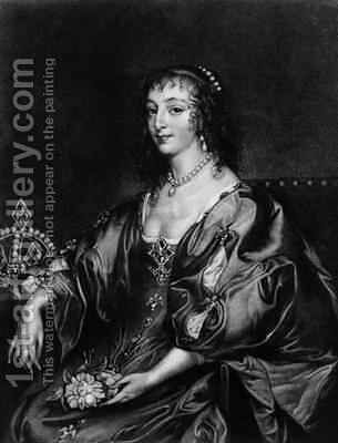 Henrietta Maria 1609-69 by (after) Dyck, Sir Anthony van - Reproduction Oil Painting