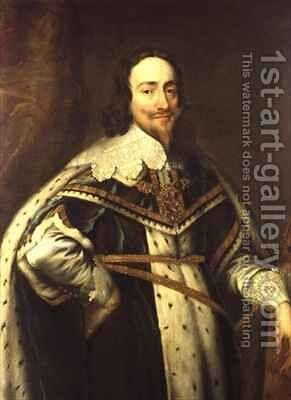 King Charles I 1600-49 in Garter Robes by (after) Dyck, Sir Anthony van - Reproduction Oil Painting