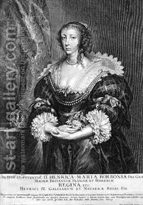 Portrait of Henrietta Maria 1609-69 Queen of England by (after) Dyck, Sir Anthony van - Reproduction Oil Painting