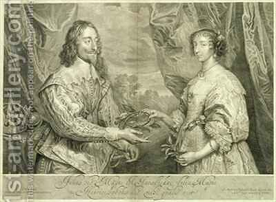 Charles I 1600-49 and Henrietta Maria 1609-69 by (after) Dyck, Sir Anthony van - Reproduction Oil Painting