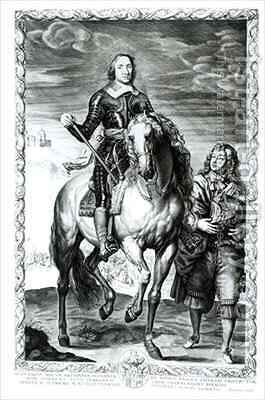 Equestrian portrait of Oliver Cromwell 1599-1658 by (after) Dyck, Sir Anthony van - Reproduction Oil Painting