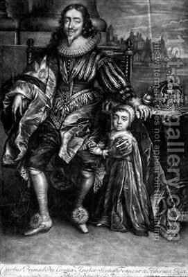 Charles I 1600-49 with a Son by (after) Dyck, Sir Anthony van - Reproduction Oil Painting