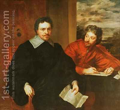 Thomas Wentworth Earl of Strafford 1593-1641 and his Secretary Sir Philip Mainwaring 1589-1661 by (after) Dyck, Sir Anthony van - Reproduction Oil Painting