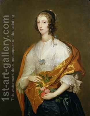 Queen Henrietta Maria 1609-69 by (after) Dyck, Sir Anthony van - Reproduction Oil Painting