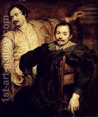 Double Portrait of the de Wael Brothers Lucas 1591-1661 and Cornelis 1592-1667 by (after) Dyck, Sir Anthony van - Reproduction Oil Painting