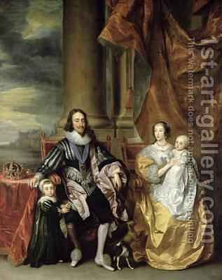 King Charles I 1600-49 and his Family by (after) Dyck, Sir Anthony van - Reproduction Oil Painting
