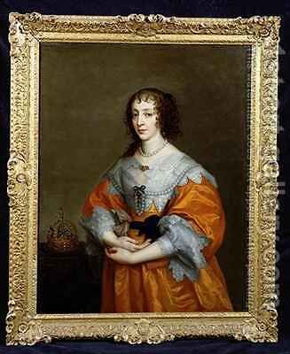 Portrait of Queen Henrietta Maria 1609-69 2 by (after) Dyck, Sir Anthony van - Reproduction Oil Painting