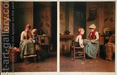 The Lesson and The Card Game by (after) Duverger, Theophile Emmanuel - Reproduction Oil Painting