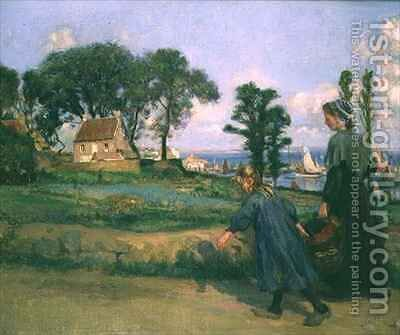 Returning Home by Charles Jules Duvent - Reproduction Oil Painting
