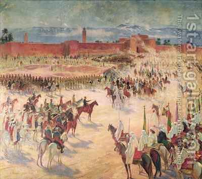 The Entrance of General Lyautey 1854-1934 and General Mangin 1862-1925 into Marrakesh in 1912 by Charles Jules Duvent - Reproduction Oil Painting