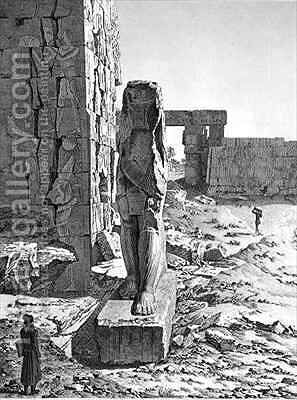 View of the Colossus at the entrance to the hypostyle halls of the palace at Karnak Thebes by (after) Dutertre, Andre - Reproduction Oil Painting