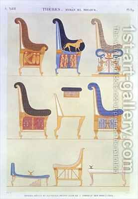Illustrations of various painted seats and armchairs from the 5th Tomb of the Kings at the east Byban el Molouk by (after) Dutertre, Andre - Reproduction Oil Painting