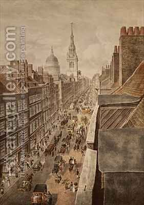 View of Cheapside by (after) Duryer, W. - Reproduction Oil Painting