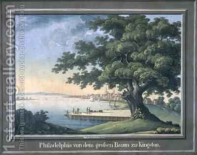The Great Tree of Kingston with a view of Philadelphia behind by C.A. During - Reproduction Oil Painting